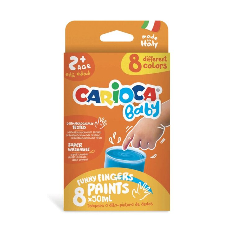 Acuarele Baby Finger Paint 8 x 50 ml, Carioca