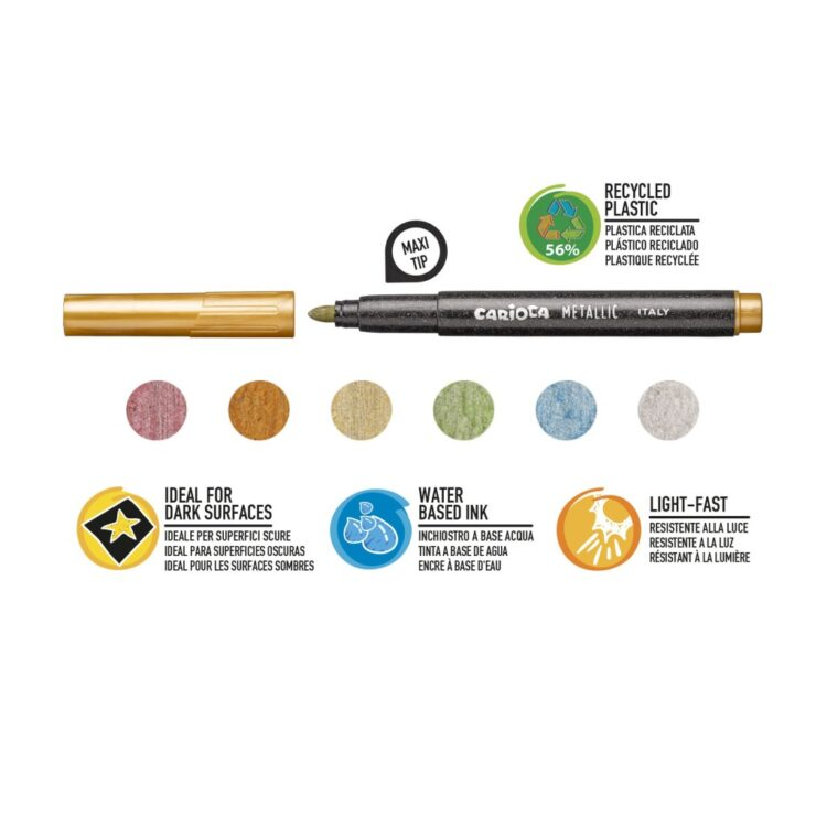 Carioca Metallic Maxi 6/set culori