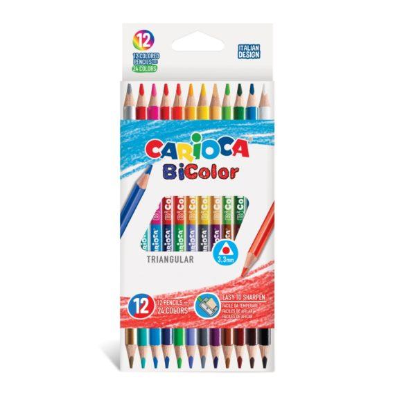 Creioane color Carioca Bi-Color 12/set