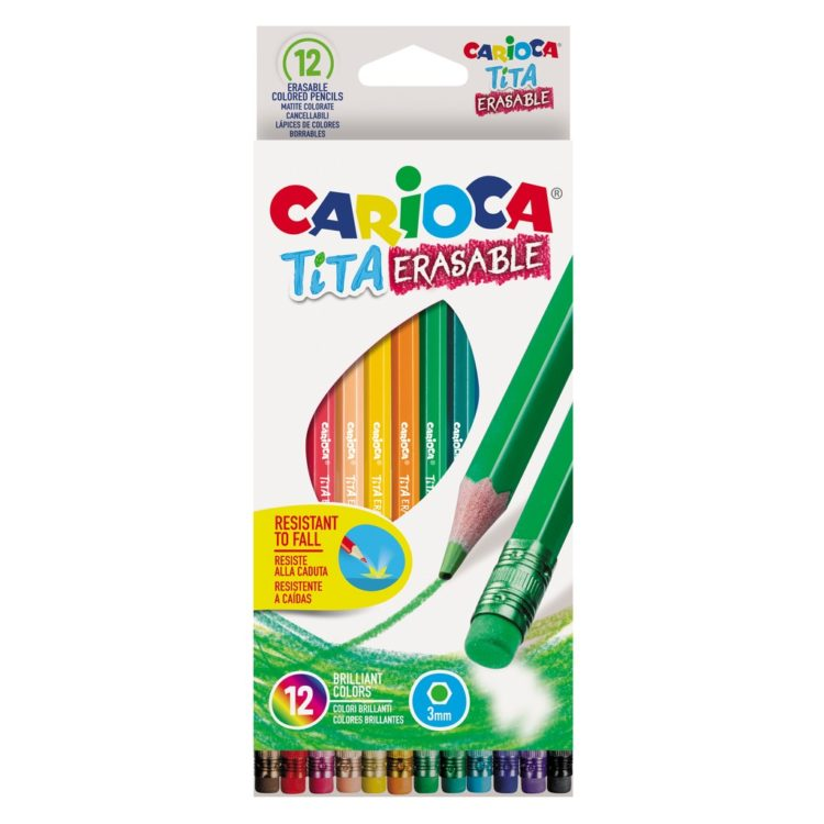 Creioane color Tita Erasable, 12 culori