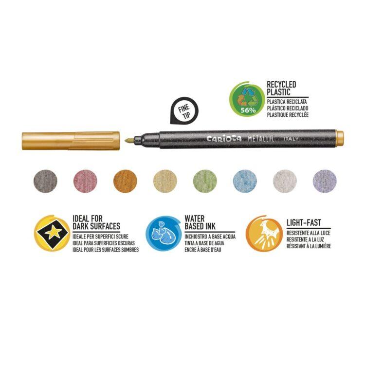 Fineliner Metallic Carioca 8/set culori