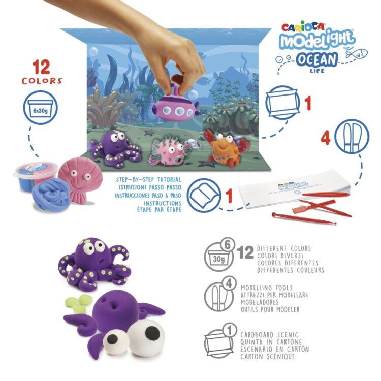 Plastilină ModeLight Maxi PlayBox Ocean detalii